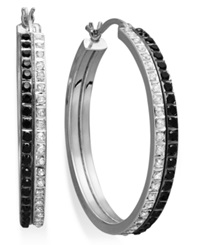 Macy's Sterling Silver Earrings Black And White Diamond Accent Double Row Hoop Earrings