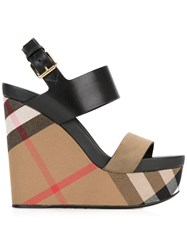 Burberry Checked Wedge Sandals Black