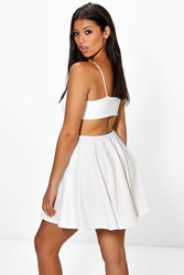 Boohoo Strappy Wide Back Strap Skater Dress Ivory