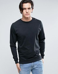 Solid Crew Neck Sweatshirt In Black Black
