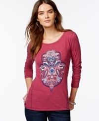 Lucky Lotus By Lucky Brand Long Sleeve Graphic T Shirt Holiday Berry