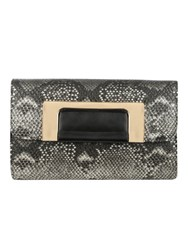 Jane Norman Snake Print Clutch Bag Grey