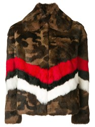 Msgm Camouflage Print Jacket Brown