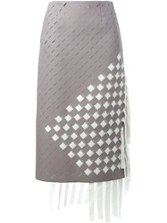 Marco De Vincenzo Woven Midi Skirt Grey