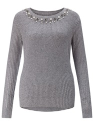 Adrianna Papell Beaded Jumper Grey