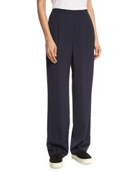 Vince Pleated Crepe Pull On Trousers Navy