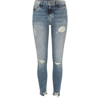 River Island Womens Authentic Wash Ripped Paint Molly Jeggings