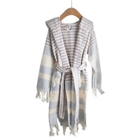 Home And Loft Child's Turkish Cotton Hooded Robe Lilac Gray Stripe