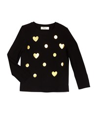 Milly Minis Foil Print Crewneck Sweater Black