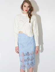 Pixie Market Joa Powder Blue Lace Skirt