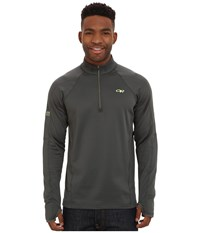 Outdoor Research Radiant Lt Zip Top Charcoal Lemongrass Men's Fleece Gray