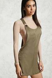 Forever 21 Twill Woven Overall Romper Olive