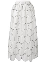 Rochas Circle Pattern Full Skirt Nude Neutrals