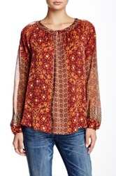 Gypsy05 Hi Lo Silk Blend Blouse Red