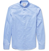 Wooyoungmi Layered Collar Cotton Poplin Shirt Blue