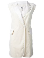Maison Martin Margiela Mm6 Sleeveless Frayed Jacket White