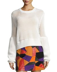 Mcq By Alexander Mcqueen Mesh Knit Crewneck Sweater Ivory