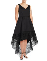 Betsy And Adam Plus Lace Hi Lo Taffeta Fit Flare Gown Black