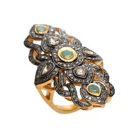 Nush Ornate Emerald And Diamond Cross Ring Green