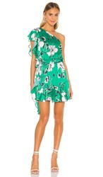 Krisa Asymmetrical Ruffle Dress In Green. Tahiti