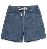 Loro Piana Mid Length Cotton Chambray Swim Shorts Blue