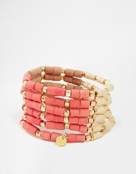 Nali Bead Stretch Multi Row Bracelet Coral