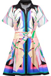 Roberto Cavalli Pleated Printed Cotton Blend Mini Dress Multi