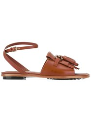 Tod's Fringed Flat Sandals Women Leather Rubber 37 Brown