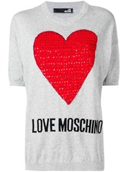 Love Moschino Heart Embellished Knit Top Grey