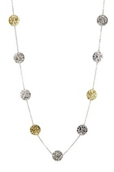 Two Tone Hammered Disc Station Necklace Metallic