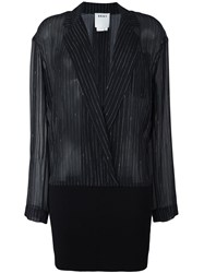 Dkny Ribbed Hem Pinstripe Shirt Black