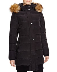 7 For All Mankind Faux Fur Trim Down Coat Black