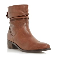 Dune Pager Ruched Block Heel Ankle Boots Tan