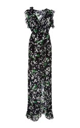 Isolda A V Neck Ruffle Bodice Self Belt And A Front Slit In The Maxi Length Wrap Silhouette. Black