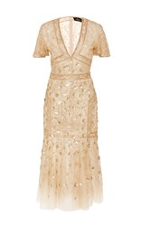 J. Mendel Flower Embroidered V Neck Dress Gold