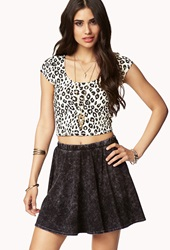 Forever 21 Leopard Print Crop Top Cream Black