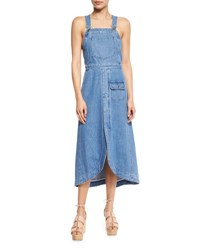 See By Chloe Denim Overall Midi Dress Washed Indigo