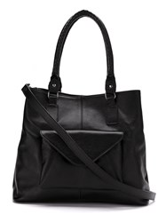 Mara Mac Leather Pocket Tote Bag Black
