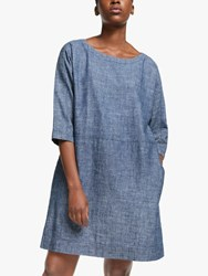 Eileen Fisher Chambray Linen Dress Denim