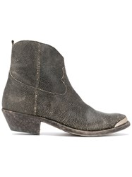 Golden Goose Deluxe Brand Distressed Cowboy Boots Women Leather 36 Grey