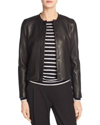 Vince Leather Collarless Zip Front Jacket Black