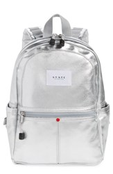 State Bags Downtown Mini Kane Canvas Backpack Metallic Silver