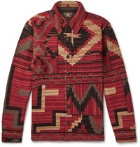 Rrl Wool Silk And Cashmere Blend Jacquard Overshirt Red