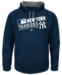Majestic Men's Big And Tall New York Yankees Authentic Collection Choice Hoodie Navy Heather Gray