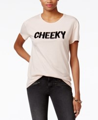 Guess Cheeky Beaded T Shirt Pink Sheer
