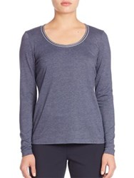 Lafayette 148 New York Melange Jersey Grosgrain Trim Scoopneck Tee Galaxy Blue