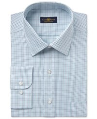 Club Room Estate Men's Wrinkle Resistant Mint Twill Check Dress Shirt Only At Macy's