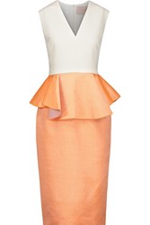 Roksanda Ilincic Philippa Color Block Wool Blend Peplum Midi Dress Orange