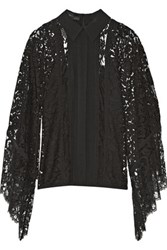 Elie Saab Draped Chiffon Paneled Lace Top Black