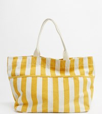 Accessorize Striped Beach Tote Bag In Yellow And Beige